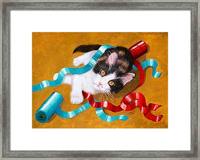 Gift Wrapped Kitty Framed Print by Lorraine Foster