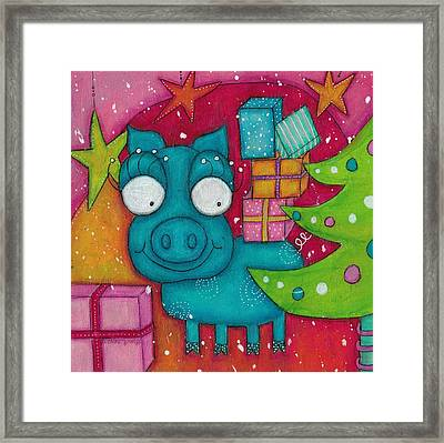 Gifting Piggy Framed Print