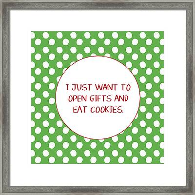 Gifts And Cookies- Art By Linda Woods Framed Print