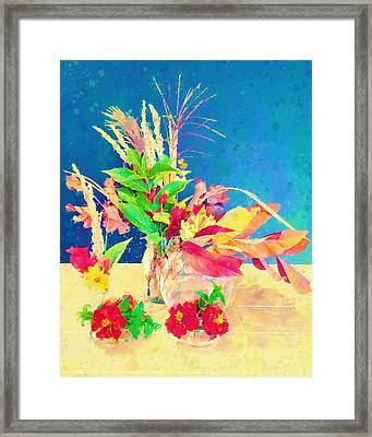 Framed Print featuring the digital art Gifts From The Yard Watercolor by Christina Lihani