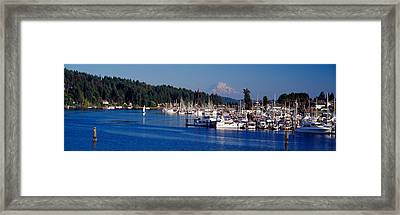 Gig Harbor With Mt Rainier Framed Print by Panoramic Images