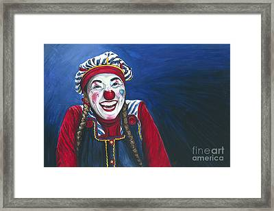 Giggles The Clown Framed Print by Patty Vicknair