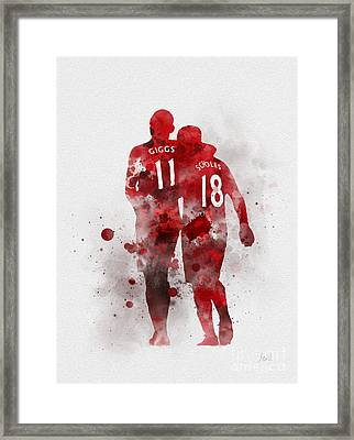 Giggsy And Scholesy Framed Print by Rebecca Jenkins