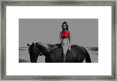 Gigi Hadid Red Top Framed Print