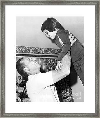 Gil Hodges Holding His Daughter Before Brooklyn Game. 1967 Framed Print by William Jacobellis