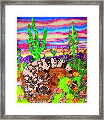 Gila Monster In Desert Framed Print by Nick Gustafson