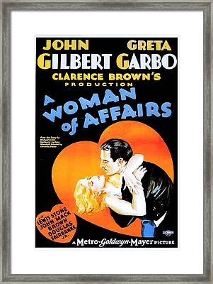 Gilbert And Garbo In A Woman Of Affairs 1928 Framed Print