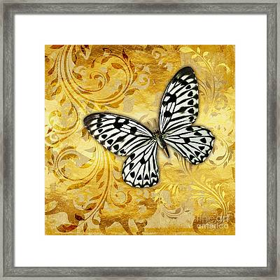 Gilded Garden A Butterfly Amidst Golden Floral Shapes Framed Print by Tina Lavoie