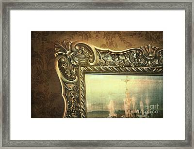 Gilded Mirror Reflection Of Chandelier Framed Print