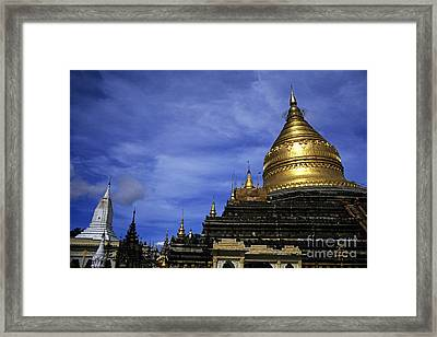 Gilded Stupa Of The Shwezigon Pagoda In Bagan Framed Print