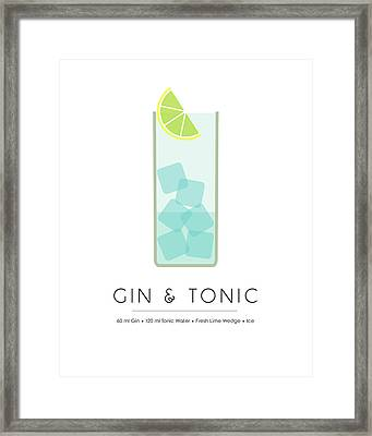 Gin And Tonic Classic Cocktail - Minimalist Print Framed Print