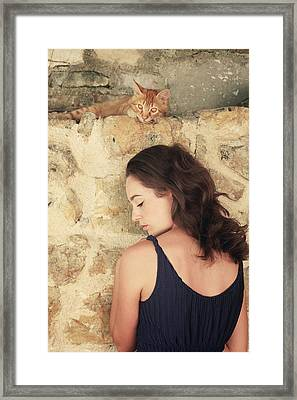 Ginger Cat Framed Print by Cambion Art