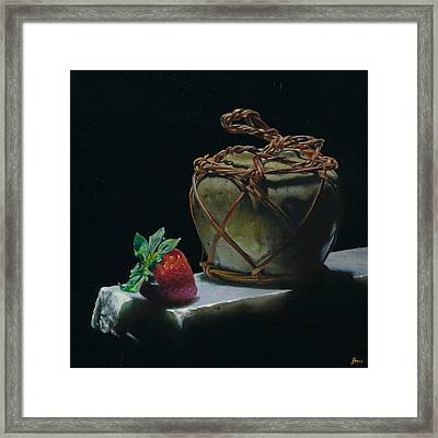 Ginger Jar And Strawberry Framed Print by Jeffrey Hayes