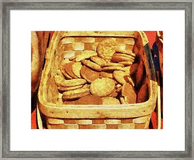 Ginger Snap Cookies In Basket Framed Print by Susan Savad