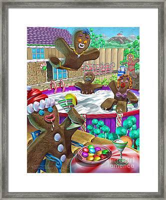 Gingerbread Candy Party Framed Print by Shiny Thoughts