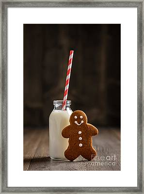 Gingerbread Man With Milk Framed Print by Amanda Elwell