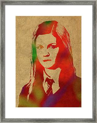 Ginny Weasley From Harry Potter Watercolor Portrait Framed Print by Design Turnpike