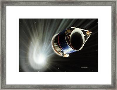 Giotto Spacecraft At Halley's Comet Framed Print by Detlev Van Ravenswaay