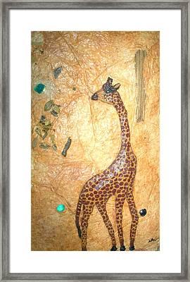 Giraffe   Sold  Framed Print by Tinsu Kasai