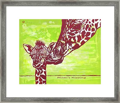Mum's Kissing - Giraffe Stylised Pop Art Poster Framed Print by Kim Wang