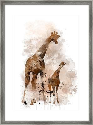 Giraffe And Baby Framed Print