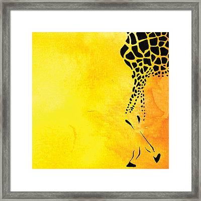 Giraffe Animal Decorative Yellow Wall Poster 6 - By Diana Van Framed Print