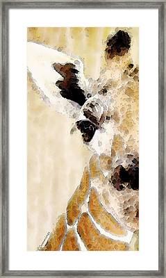 Giraffe Art - Side View Framed Print by Sharon Cummings