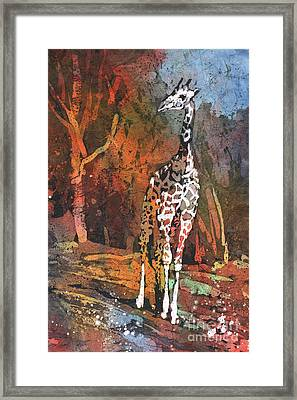 Framed Print featuring the painting Giraffe Batik II by Ryan Fox