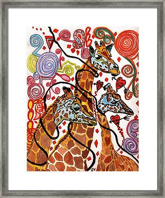 Giraffe Birthday Party Framed Print