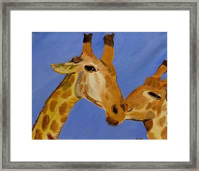 Giraffe Bonding Framed Print