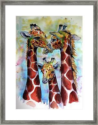 Framed Print featuring the painting Giraffe Family by Kovacs Anna Brigitta