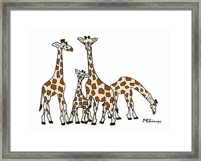 Giraffe Family Portrait In Brown And Beige Framed Print