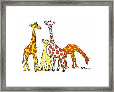 Giraffe Family Portrait In Orange And Yellow Framed Print