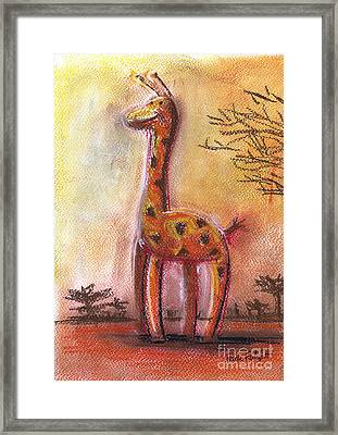 Giraffe For Children Pastel Chalk Drawing Framed Print
