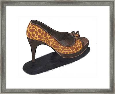 Framed Print featuring the drawing Giraffe Heels by Jean Haynes