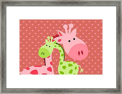 Giraffe  Hugs Framed Print