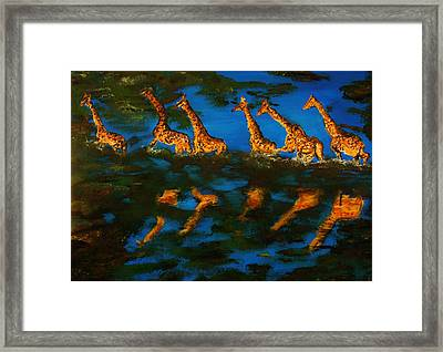 Giraffe In Africa Framed Print by Gregory Allen Page