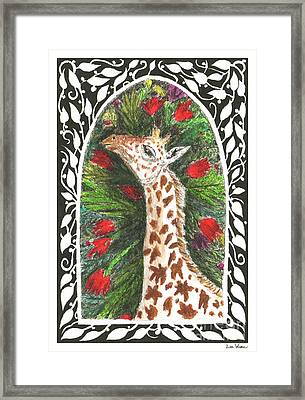 Giraffe In Archway Framed Print by Lise Winne