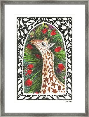 Giraffe In Archway Framed Print