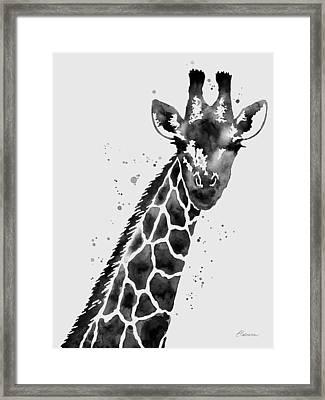 Giraffe In Black And White Framed Print