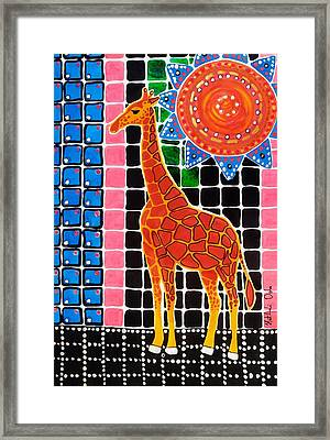 Framed Print featuring the painting Giraffe In The Bathroom - Art By Dora Hathazi Mendes by Dora Hathazi Mendes