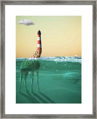 Giraffe Lighthouse Framed Print
