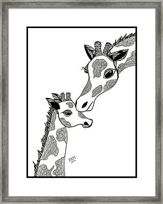 Giraffe Mom And Baby Framed Print