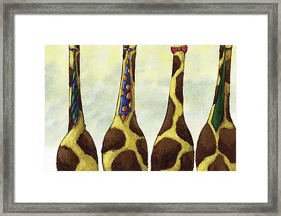 Giraffe Neckties Framed Print by Christy Beckwith
