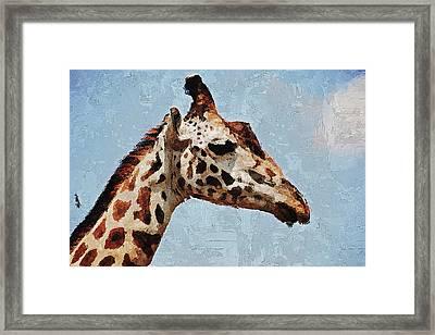 Framed Print featuring the digital art Giraffe Safari  by PixBreak Art