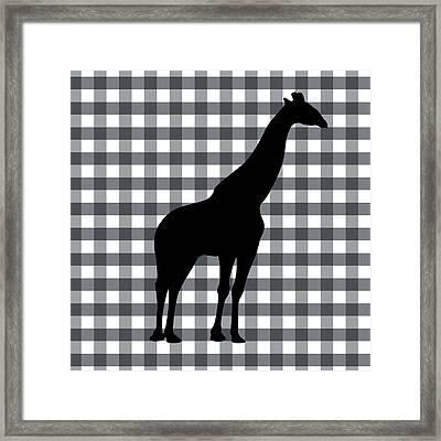 Giraffe Silhouette Framed Print by Linda Woods