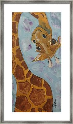 Giraffe Tall Framed Print by Terri Einer