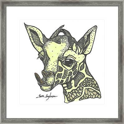 Giraffe, Tongue Out Framed Print