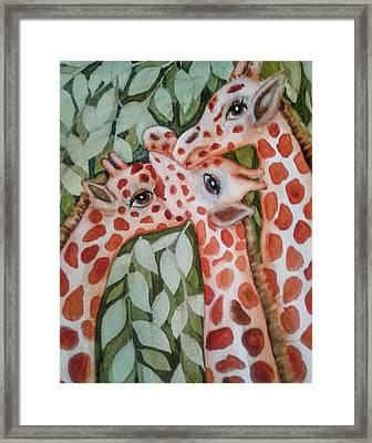 Giraffe Trio By Christine Lites Framed Print