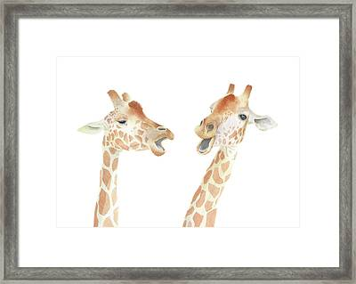 Framed Print featuring the painting Giraffe Watercolor by Taylan Apukovska